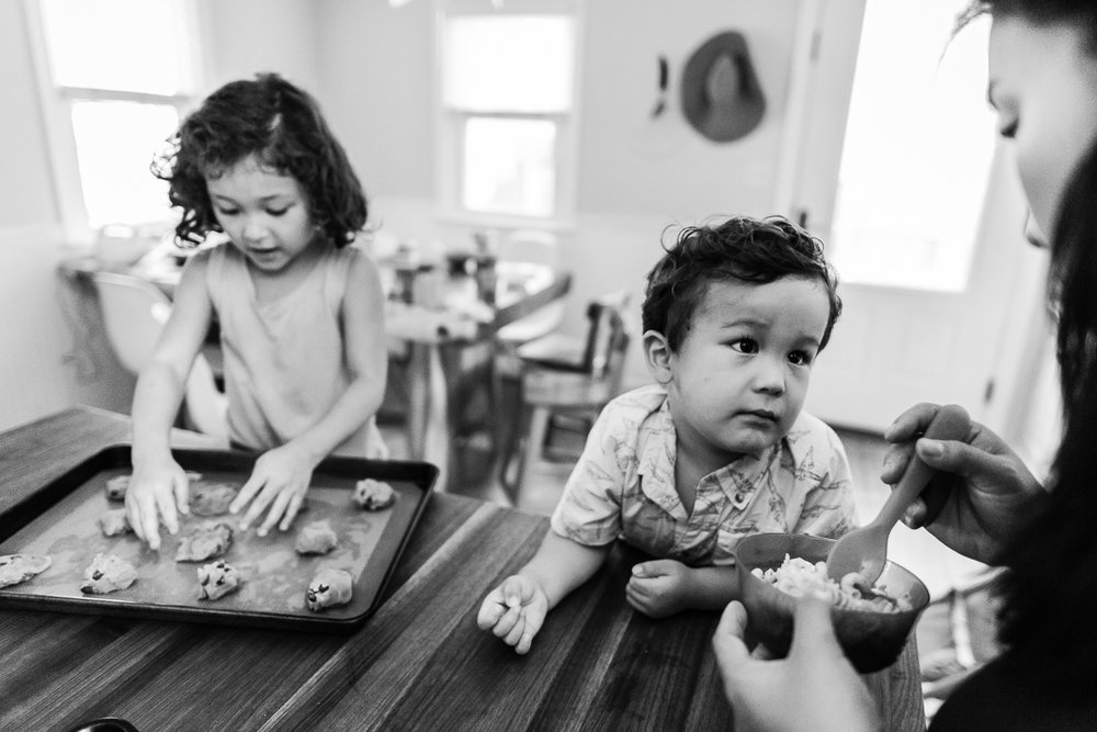 Kids preparing to bake cookies with mom by Northern Virginia Family Photographer Nicole Sanchez