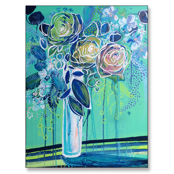 "Aqua and Roses, 18x24"" Acrylic on Stretched Canvas"