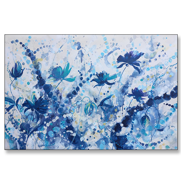 "Blu Blooms, 36x24"", Acrylic on Canvas"