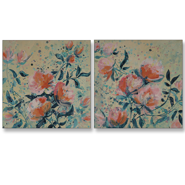 Boastful Blooms I and II, 24x24, Acrylic on Canvas