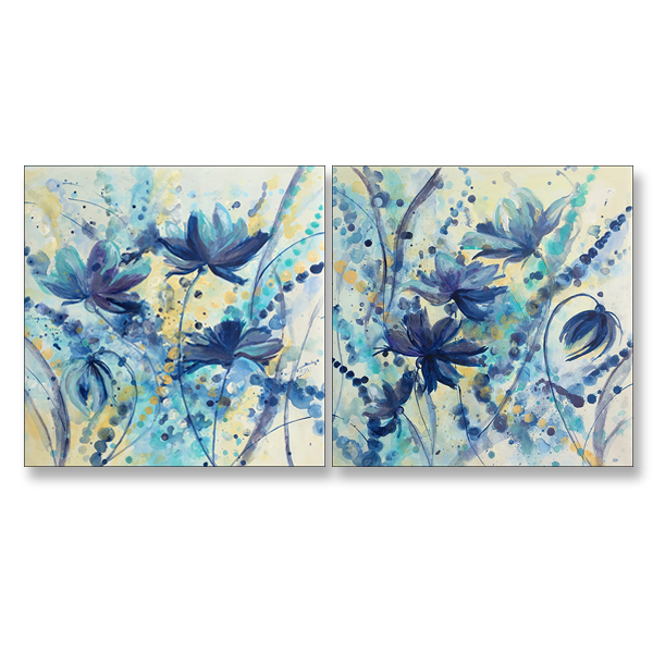"Cool Floral Dance I and II, 18x18"", Acrylic on Canvas"