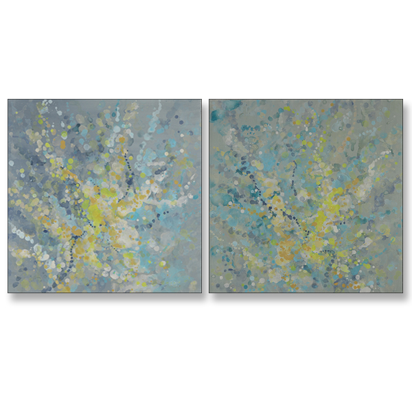 "Light Dance I and II, 20x20"", Acrylic on Canvas"
