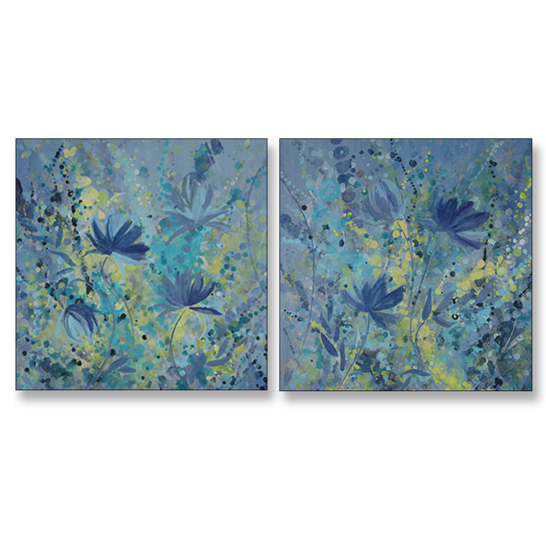 "Cool Cosmo Dance I and II, 24x24"" Acrylic on Canvas"
