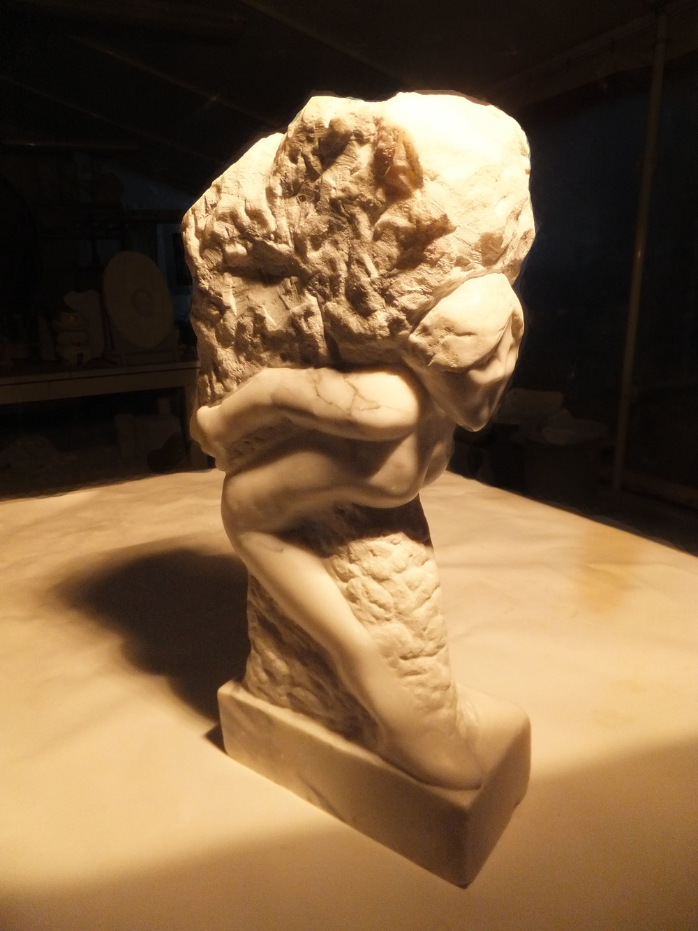 "Self Portrait in Marble  Carrara White Marble  20"" X 8"" X 4""  2014"