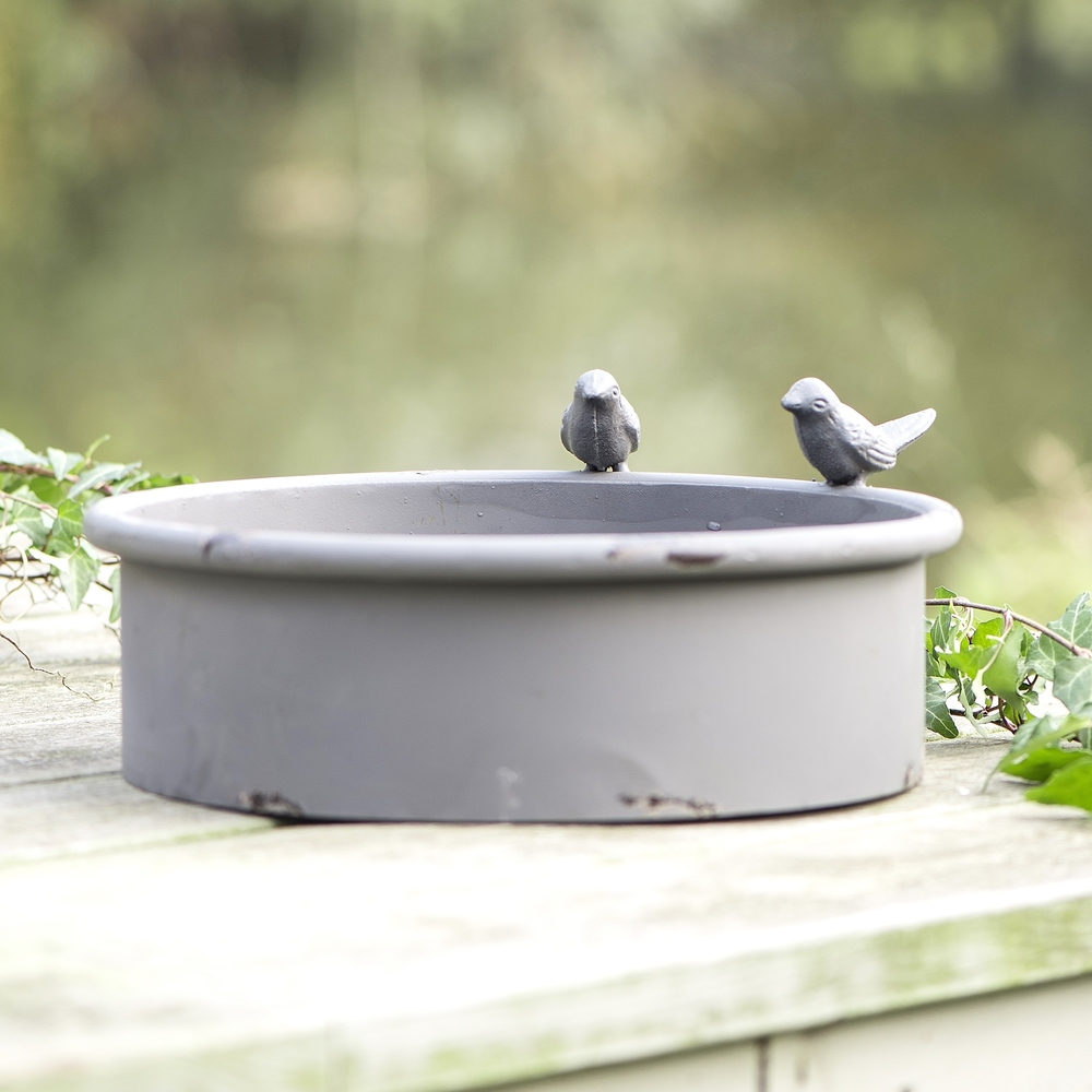 This Modern Grey Distressed Metal Bird Bath Will Ensure Your Feathered  Visitors Stay Hydrated And Offers Them A Place To Cool Down