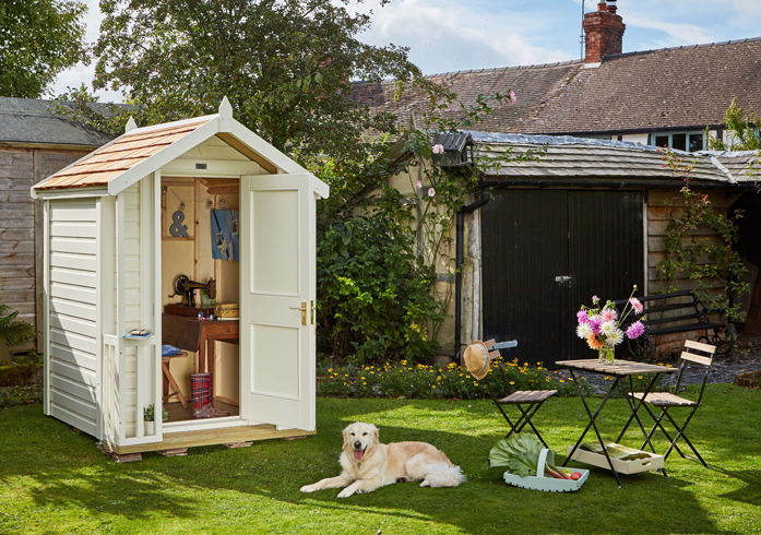 HAVE FUN WITH A PERSONAL TOUCH Make your shed all your own by decorating with favourite objects, art & momentos. Beach hut design from www.poshshedcompany.co.uk from £2350.