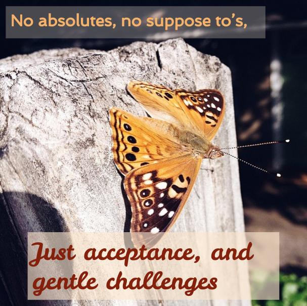 "butterfly with text ""no absolutes, no supposed to's, just acceptance, and gentle challenges' written on it"