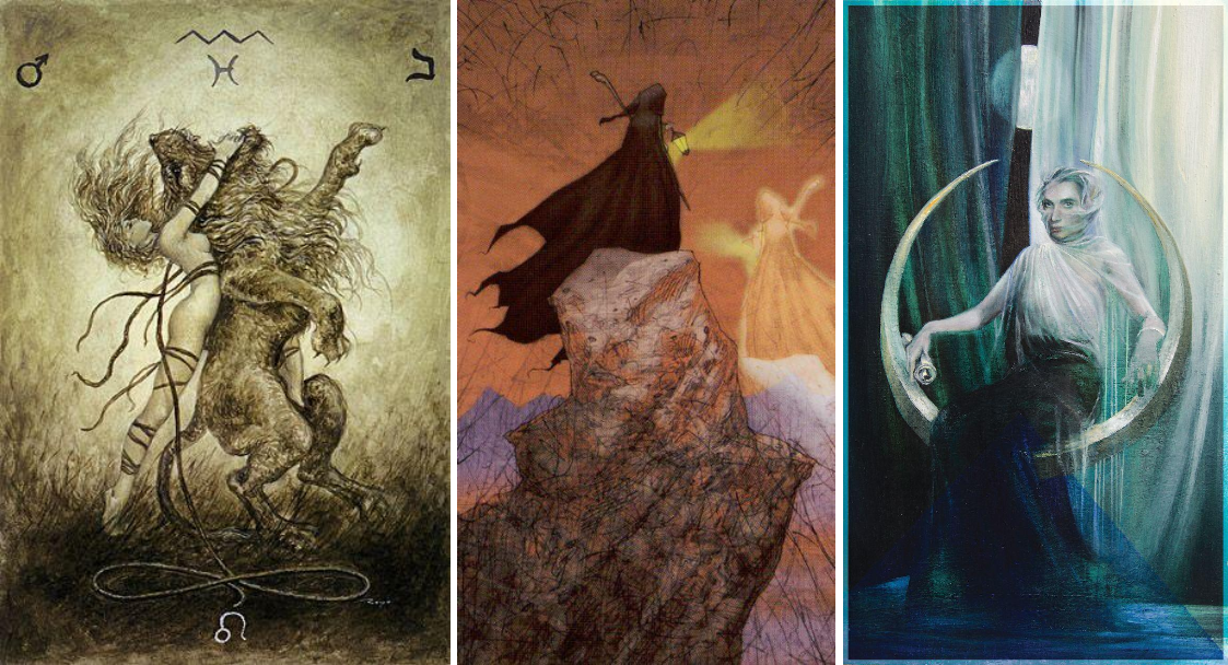 From left: Strength card from the Labyrinth Tarot, The Hermit from the Tarot of Reflections, and The High Priestess from The Fountain Tarot