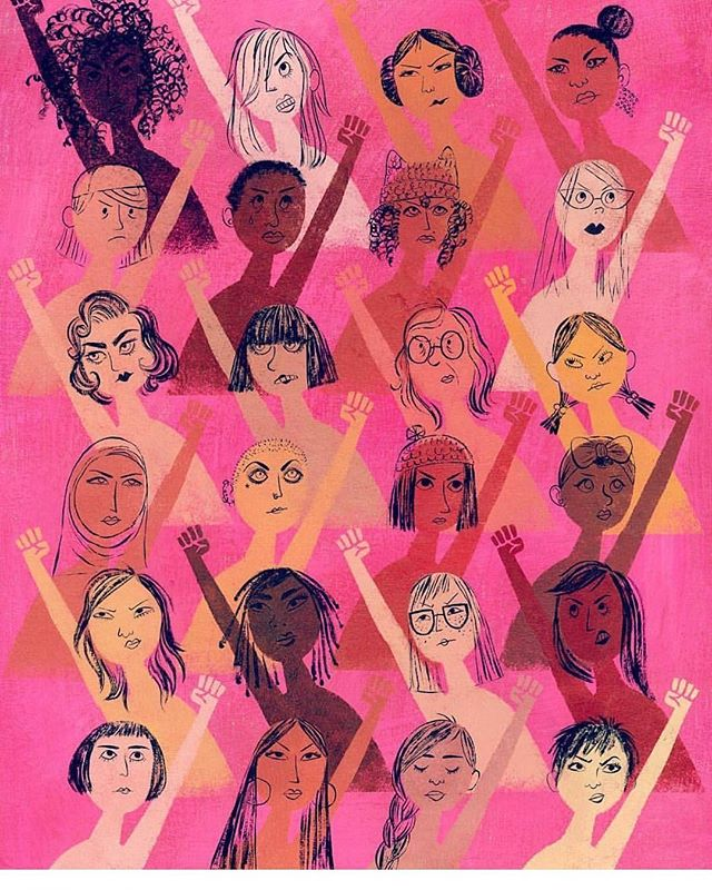 Today (as on all days) we are strong. We see each other and hold each other dear. We rise up. #adaywithoutwomen #internationalwomensday artwork by @missbrigette regram from @wecanradio