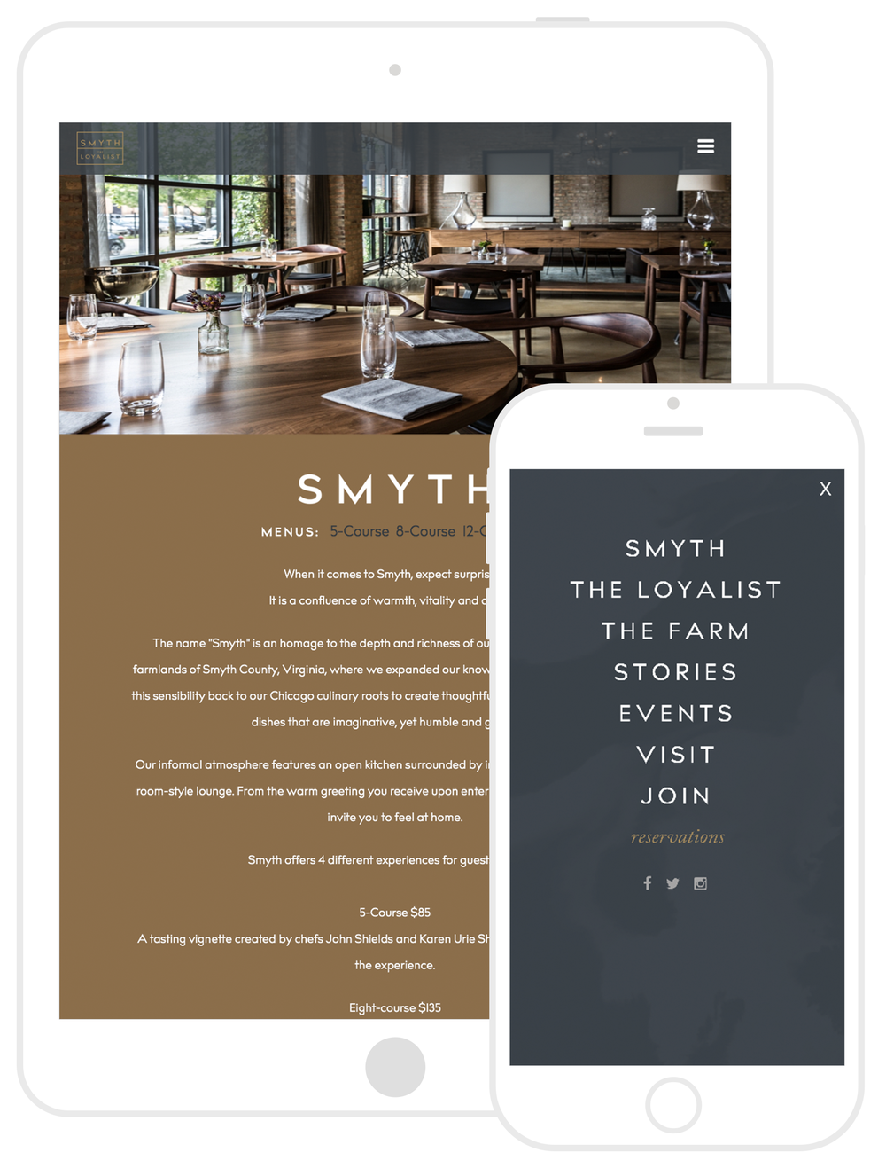 Responsive Web Design by Second + West for Smyth & The Loyalist in Chicago, IL