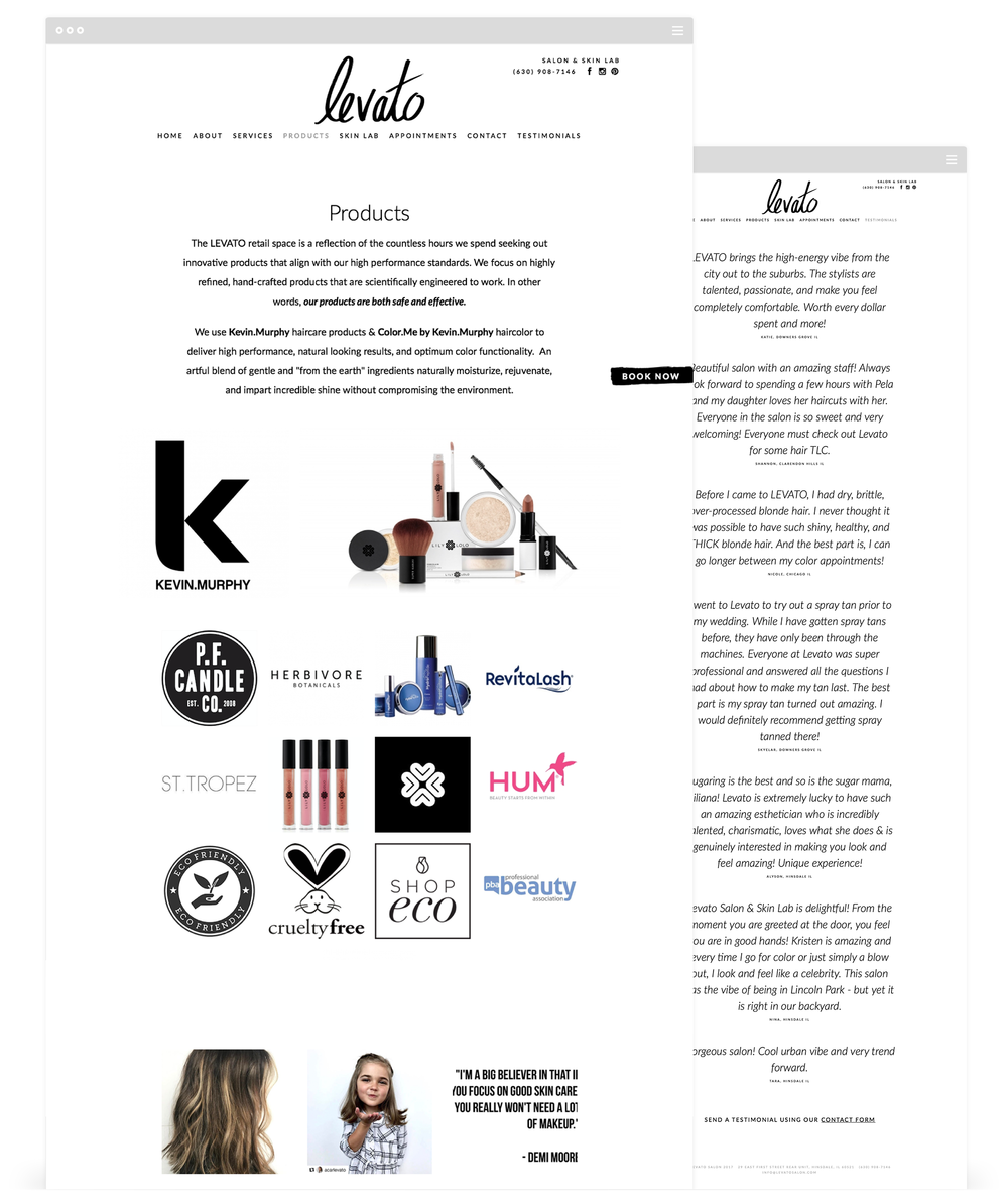 Website Development for Levato Salon by Second + West