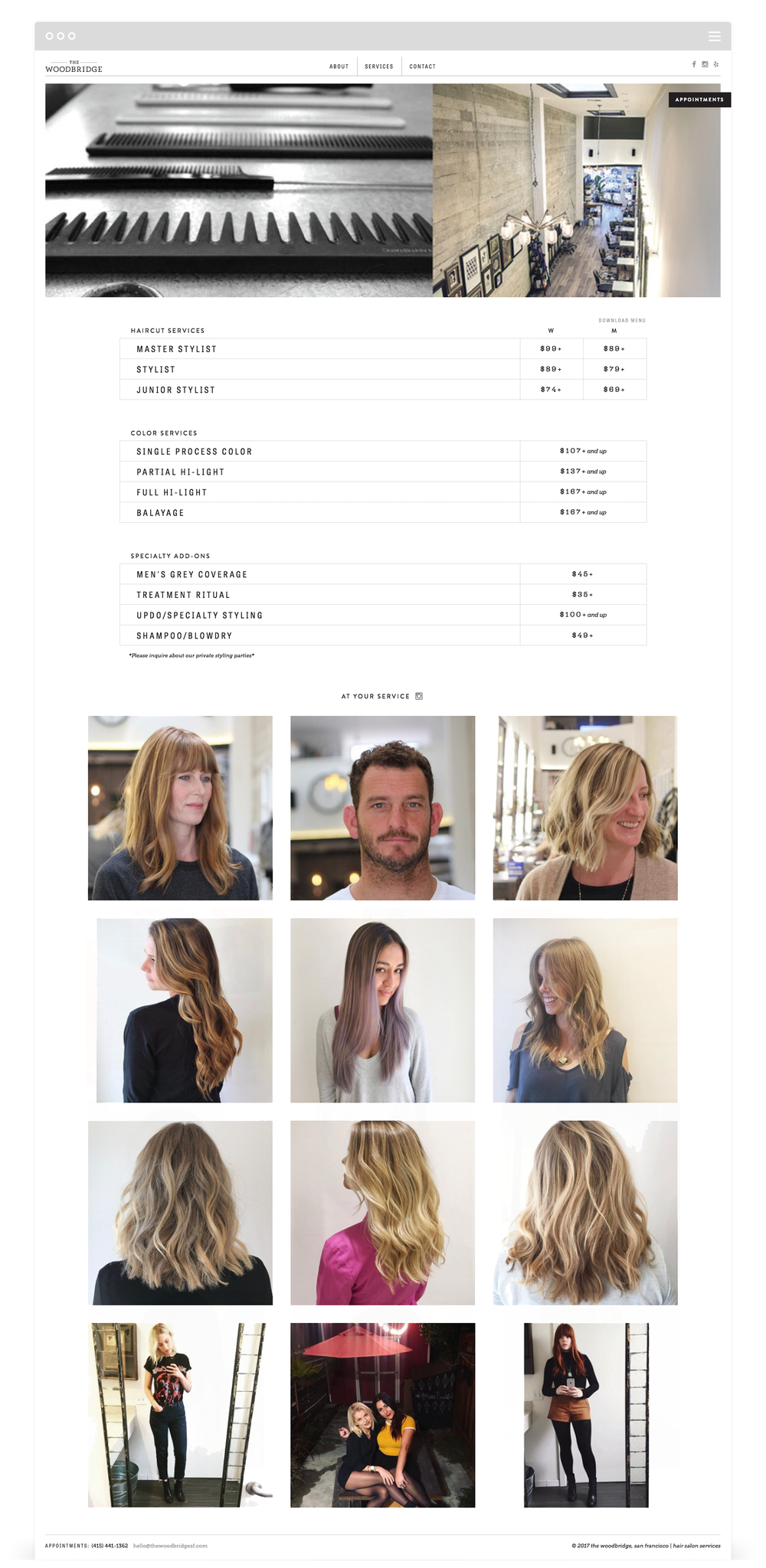 Website Development for The Woodbridge Salon by Second + West