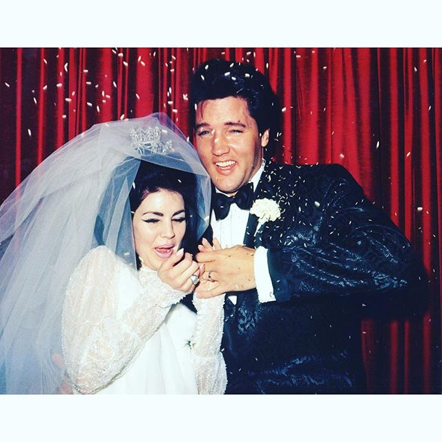 Those nails, the hair, that eyeliner❣ Priscilla and Elvis Presley on their wedding day in 1967 #famousbridesfriday