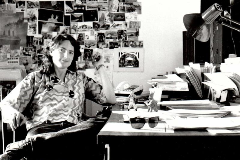 Marnie Gillett at her desk, ca 1995