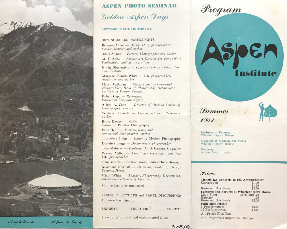 Original flyer announcing the 1951 Aspen Photo Conference.