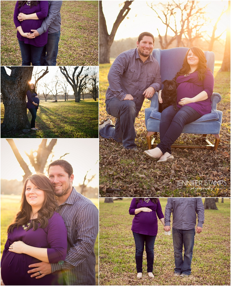 Austin maternity photos with pug