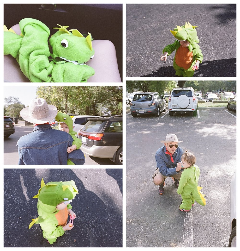 Toddler dinosaur costume with Dr. Grant, Welcome to Jurassic Park