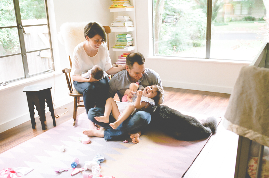 family of four with brand new baby and dog, Austin photographer