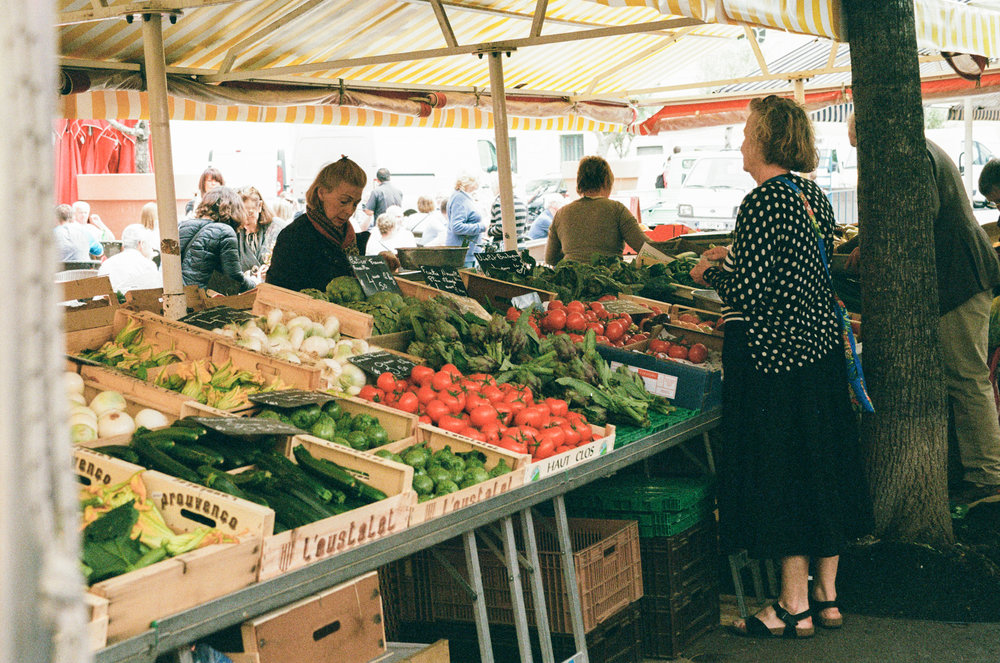 35mm film photo of Cours Saleya market Nice France