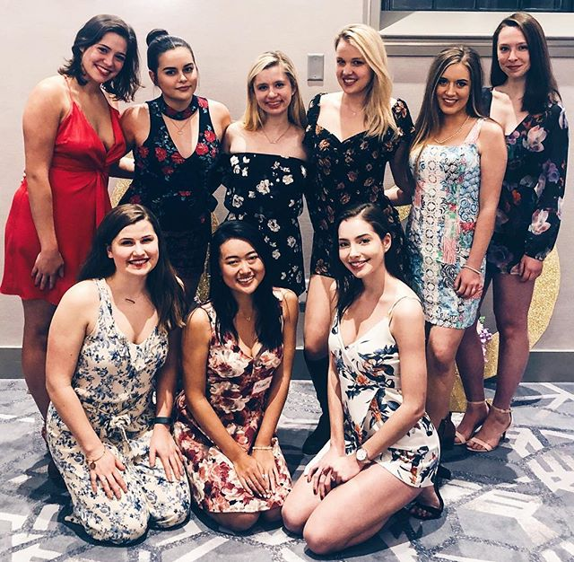 some of our lovely ladies at recruitment round two tonight 🤩 so proud of these amazing women for all of their hard work to create a safe, supportive community of women on campus — we are SO excited to welcome a new class of fearless alpha phi women so very soon! ⚡️