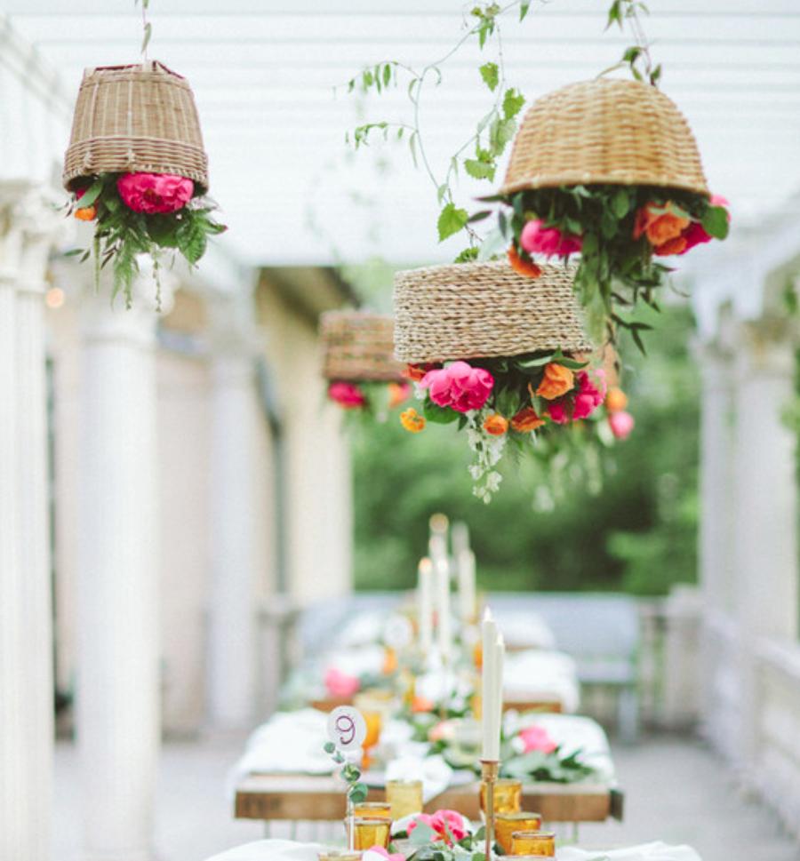 California Meets Colorado Modern Boho Wedding at Grant Humphrey Mansion - The hanging baskets, need we say more?..