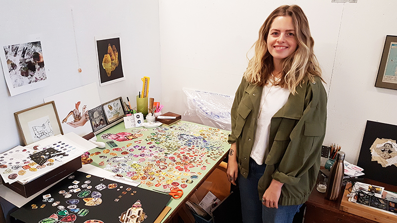 Laura Kay Keeling in her studio at Akin Dupont preparing new work for The Artist Project