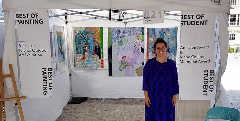 Katrina Jurjans of Akin Lansdowne wins Best of Student and Best of Painting awards at the 2017 Toronto Outdoor Art Exhibition