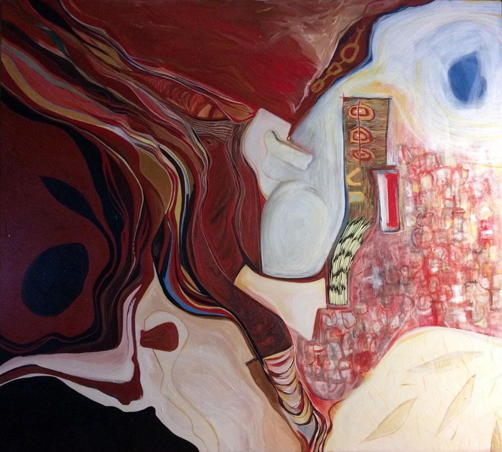 "aǫmę́tsaʔ eyǫmaaʔtateyaʔt ""the earth, they her body will burn"" (Controlled Burn) Catherine Tammaro, 2017 Acrylic On Canvas With Quills."