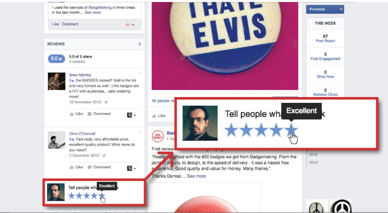How to leave a review on the BadgeMaking.ie Facebook page.