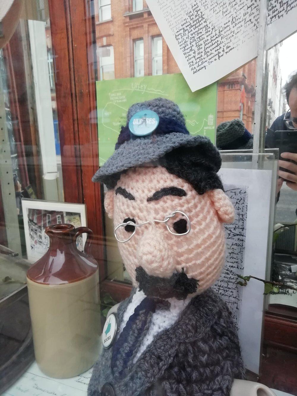 Ulysses badge in Sweny's Pharmacy Window