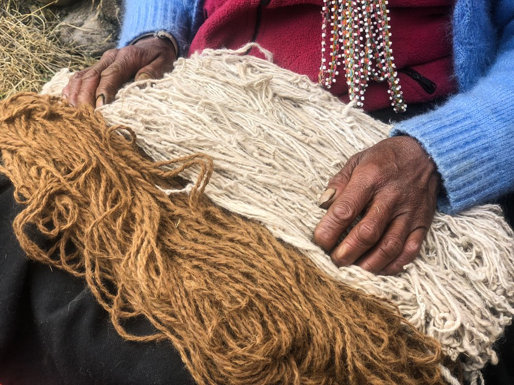 The yarn is washed with light soap, cold water and dried.