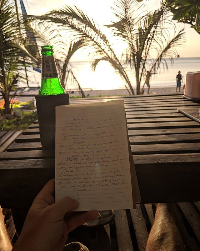 Finishing some new lyrics 😉 • • #newsong #inspiration #songwriter #beach #sandybutt #musician  #sunset #thailand #kohlanta #relaxed