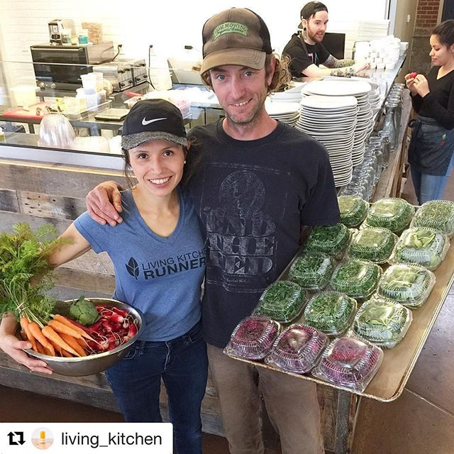 Excited to be officially partnering with @living_kitchen . Juli, the owner, introduced Dylan and I 5 or so years ago. I worked for Juli for a couple of years, slinging smoothies and briefly managing the juicery. She hired Dylan shortly after...she's always been quite the matchmaker. We fell in love (awwww) got married and now supply Luna's with our #alexanderacres microgreens and seasonal produce. Love you, Juli 💕