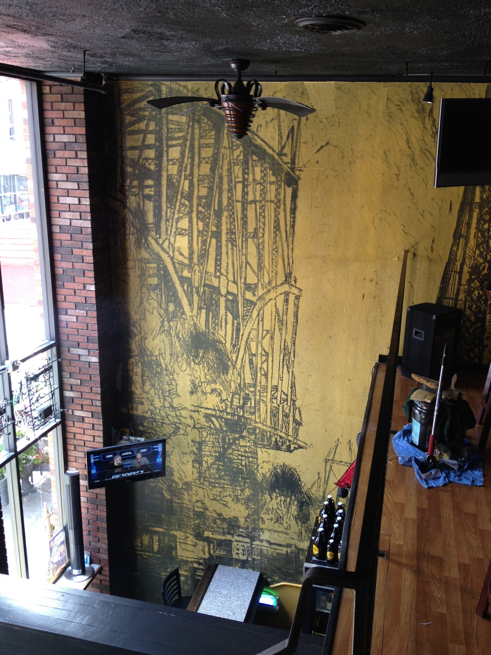 The Beerhive.  Pittsburgh, 2014.  Hand painted, wheat pasted wall coverings.