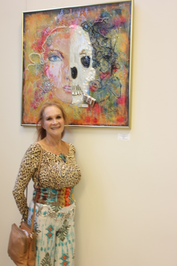 "Sondra Levy with her art piece ""Choose Life!"""
