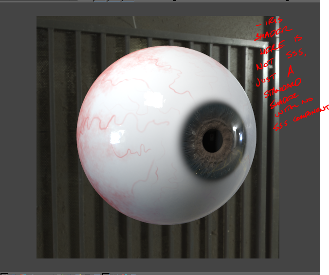 V-Ray eyeball test (sculpted and textured from by hand from scratch)