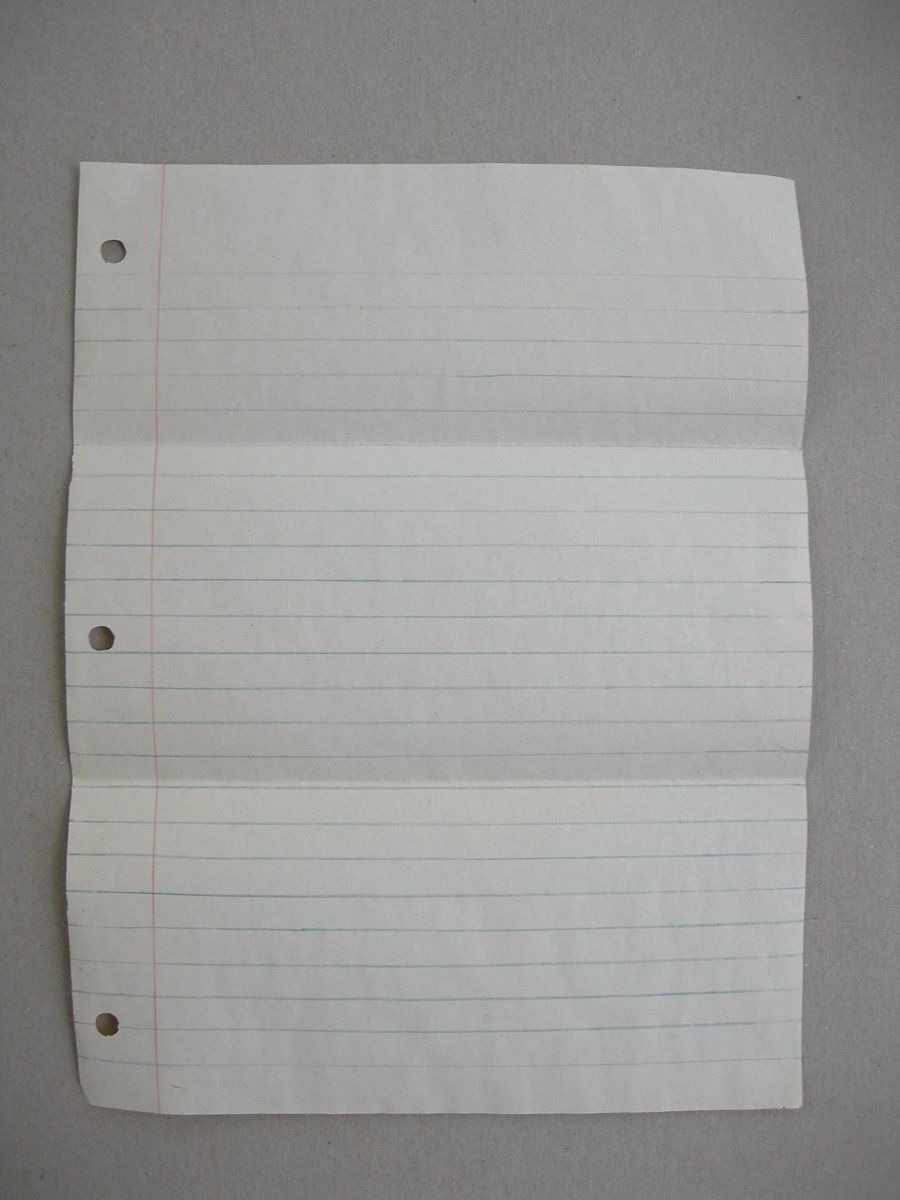sheet of notebook paper, 2005