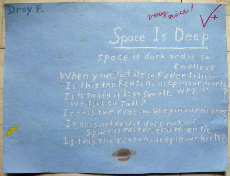 Drey's elementary school poem, 2010