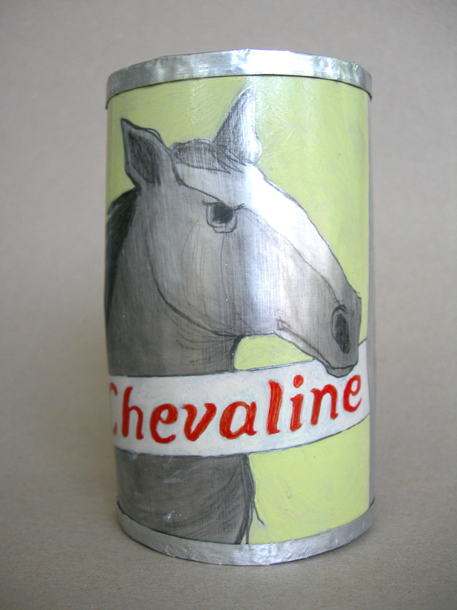Chevaline Beer Can, 2004 Acrylic, graphite and shellac on cut and shaped aluminum
