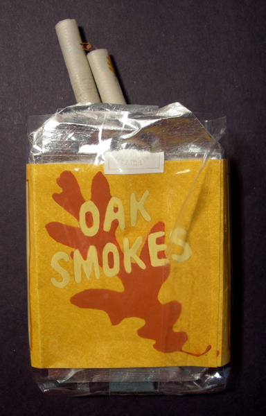 Oak Smokes Cigarettes, 2007 Package: Colored pencil, ink and acrylic ink on paper, aluminum leaf on paper, silverpoint, cellophane Cigarettes: ink and burnishing on handmade paper, oak leaves