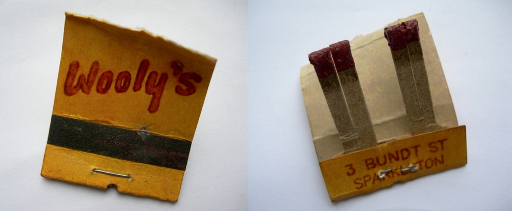 Wooly's Dinor Matchbook, 2005 Ink on cardboard, sandpaper, ash, pigment, wire