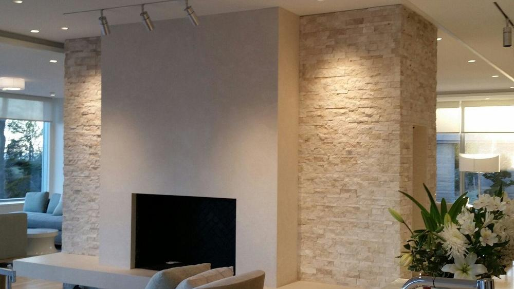 Cleft Faced Stone Fireplace