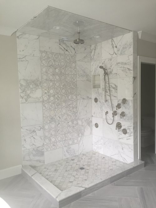 Marble Shower with Mosaic insert