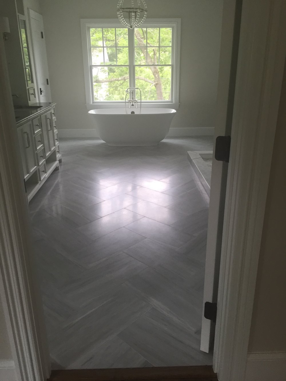 Marble set in Herringbone Pattern
