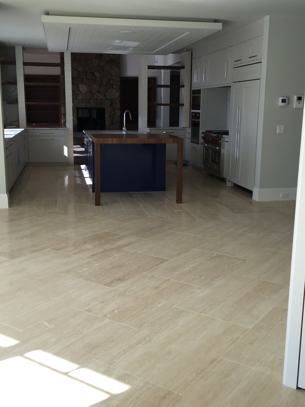 Kitchen with Travertine Tile
