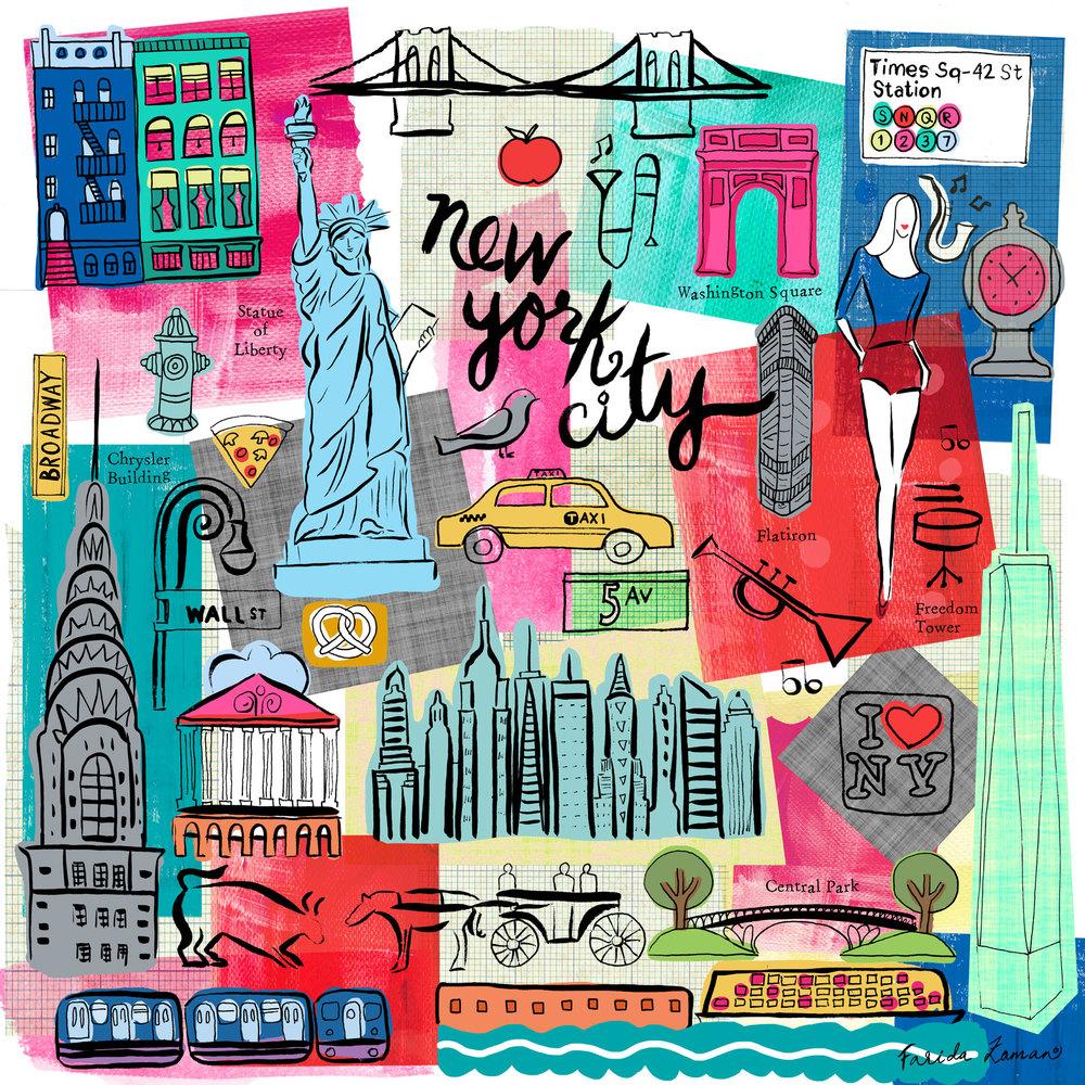 Populaire New York City Illustration — Farida Zaman ZY44