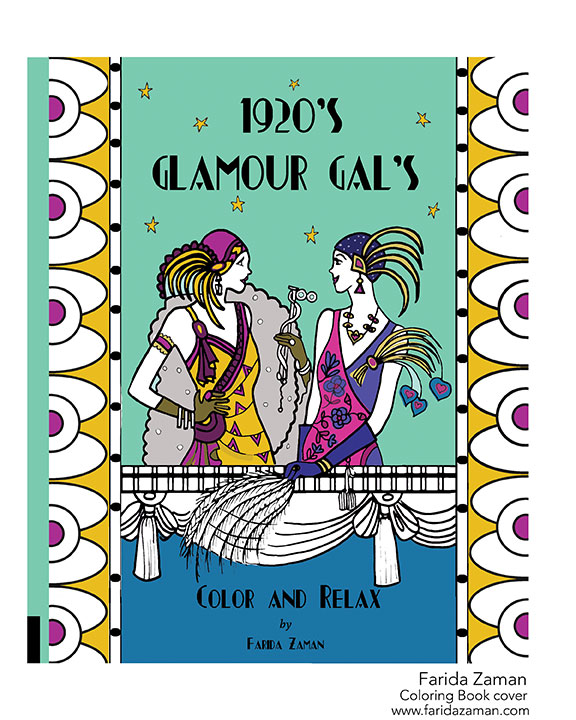 1920's glam gal color book