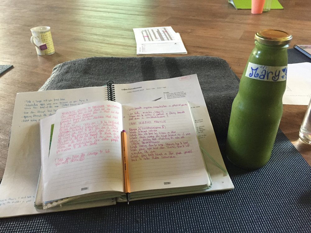 Taking notes, practising asanas and drinking freshly made Jeeva Juice are some of my daily rituals as a yoga teacher trainee here at the Krishna Village.