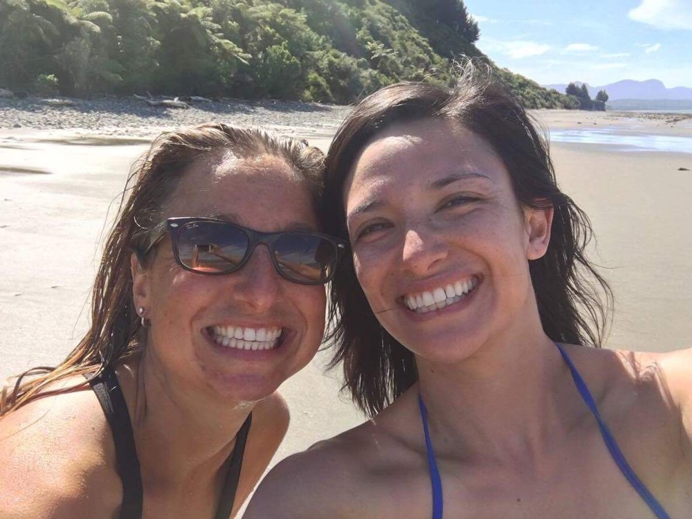 Lies (left) and Amy (right) at the beach in New Zealand