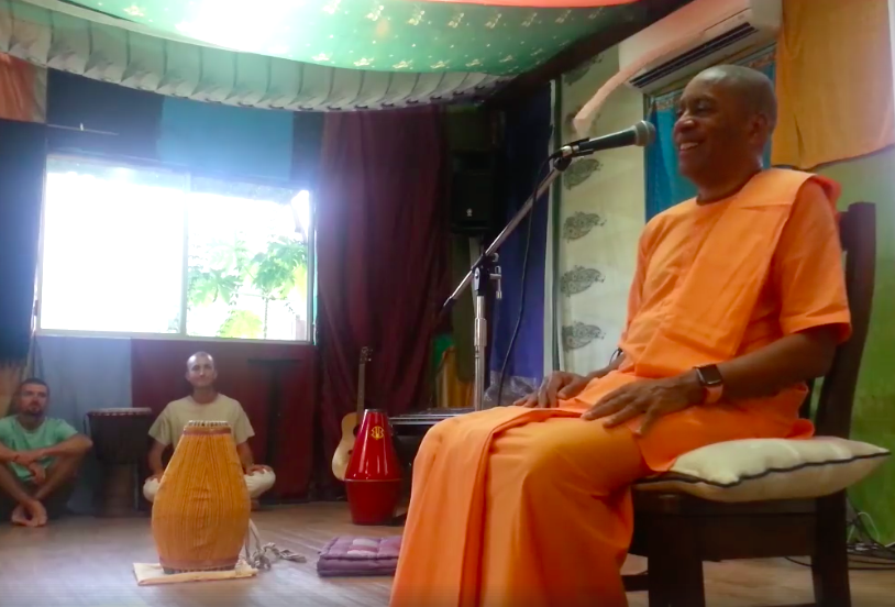 Class with Devamrita Swami; Photo: Michael Olabode